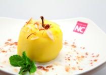 Manzana con yogurt y almendra