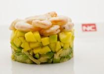 Tartar de gambas con mango y aguacate