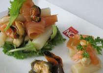 Ensalada de Esparragos con Salmón y Mejillones