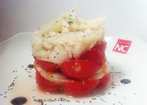 Milhoja de merluza con tomatitos y parmesano